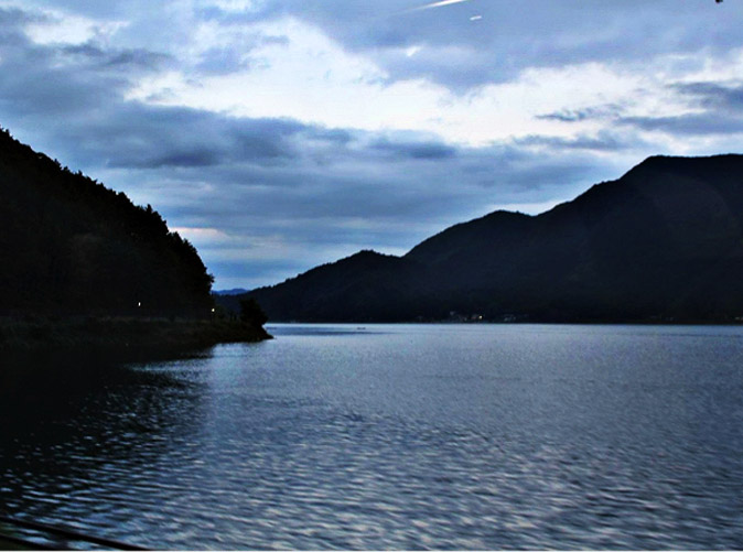 Lake Saiko, one of the five lakes formed during the volcano eruption of Mt Fuji centuries ago.